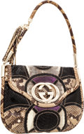 Luxury Accessories:Bags, Gucci Black, Purple & Natural Python and Snakeskin Hobo Bag....