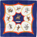 "Luxury Accessories:Accessories, Hermes Navy Blue, White & Yellow ""Ecole Francaise d'Equitation""by Jean De Fougerolle Silk Scarf. ..."