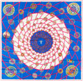"Luxury Accessories:Accessories, Hermes Pink, Blue & White ""Les Feux de L'Espace,"" by MichelDuchene Silk Scarf. ..."