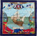 "Luxury Accessories:Accessories, Hermes Navy, Red & Light Blue ""Christophe Colomb Decouvrel'Amerique,"" by Carl de Parcevaux Silk Scarf. ..."