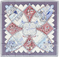 "Luxury Accessories:Accessories, Hermes Light Purple, Blue & Silver ""La Vie a Cheval,"" byLaurence Bourthoumieux Silk Scarf. ..."