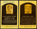 Baseball Collectibles:Others, Stanley Coveleski and Earle Combs Signed Hall of Fame PlaquePostcards Lot of 2....
