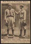 Baseball Collectibles:Others, Walter Johnson Signed Newspaper Clipping....