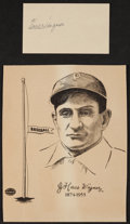 Baseball Collectibles:Others, Honus Wagner Signed Government Postcard and Unsigned Print....