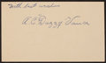 Baseball Collectibles:Others, 1950 Dazzy Vance Signed Government Postcard....