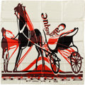 "Luxury Accessories:Accessories, Hermes Maroon, Red & Cream ""Caleche Elastique,"" by Bali BarretSilk Scarf. ..."