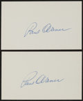 Baseball Collectibles:Others, Paul Waner Signed Index Cards Lot of 2....