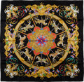 "Luxury Accessories:Accessories, Hermes Black & Gold Multicolor ""Luna Park,"" by Joachim MetzSilk Scarf. ..."