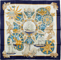 "Luxury Accessories:Accessories, Hermes Blue, Yellow & Gold ""L'Air Marin,"" by Joachim Metz SilkScarf. ..."