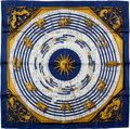 "Luxury Accessories:Accessories, Hermes Blue & Gold ""Astrologie/Dies de Hore,"" by FrancoisFaconnet,"" Silk Scarf. ..."