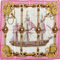 "Luxury Accessories:Accessories, Hermes Pink, Gold & White ""Tribord,"" by Julia Abadie SilkScarf. ..."