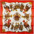 "Luxury Accessories:Accessories, Hermes Red, White & Gold ""Les Fetes du Roi Soleil,"" by Michele Duchene Silk Scarf. ..."
