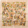 "Luxury Accessories:Accessories, Hermes Peach & Green ""Concerto,"" by Jean-Louis Clerc SilkScarf. ..."