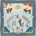 "Luxury Accessories:Accessories, Hermes Light Blue & Teal ""Real Escuela Andaluza del ArteEquestre,"" by Hubert de Watrigant Silk Scarf. ..."