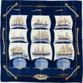 "Luxury Accessories:Accessories, Hermes Navy, Brown & Light Blue ""Grande Largue,"" by PierrePeron Silk Scarf. ..."