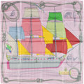 "Luxury Accessories:Accessories, Hermes Pink & Multicolor ""Cheval de Mer,"" by ChristianRenonciat Silk Scarf. ..."
