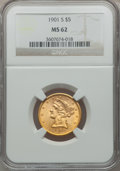 Liberty Half Eagles: , 1901-S $5 MS62 NGC. NGC Census: (2015/2945). PCGS Population(1425/2646). Mintage: 3,648,000. Numismedia Wsl. Price for pro...