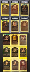 Autographs:Post Cards, Baseball Hall Of Fame Gold Plaques Lot Of 15 (6 Slabbed)....