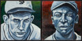 Baseball Collectibles:Others, Cool Papa Bell And Charles Gehringer Paintings Lot Of 2. ...