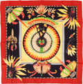 "Luxury Accessories:Accessories, Hermes Yellow, Black & Red ""Brazil,"" by Laurence BourthoumieuxSilk Scarf. ..."