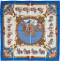 "Luxury Accessories:Accessories, Hermes White, Blue & Red ""Caparacons de la France et del'Inde,"" by Philippe Ledoux Silk Scarf. ..."