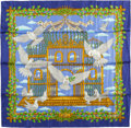 "Luxury Accessories:Accessories, Hermes Special Edition Purple, White & Gold ""El Vol - UnitedNations 50th Anniversary,"" by Joachim Metz Silk Scarf. ..."