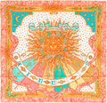 "Luxury Accessories:Accessories, Hermes Pink, Peach & Teal ""Carpe Diem,"" by Joachim Metz SilkScarf. ..."