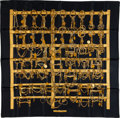 "Luxury Accessories:Accessories, Hermes Black & Gold ""Mors & Filets,"" by Francoise HeronSilk Scarf. ..."