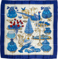 "Luxury Accessories:Accessories, Hermes Blue, Cream, & Red ""Gastronomie,"" by Christiane Vauzelles Silk Scarf. ..."