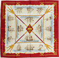 "Luxury Accessories:Accessories, Hermes Red, Gold & White ""La Marine en Bois,"" by Hugo GrygkarSilk Scarf. ..."