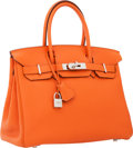 Luxury Accessories:Bags, Hermes 30cm Orange H Togo Leather Birkin Bag with PalladiumHardware. ...