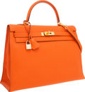 Luxury Accessories:Bags, Hermes 35cm Potiron Togo Leather Sellier Mou Kelly Bag with GoldHardware. ...