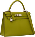 Luxury Accessories:Bags, Hermes 28cm Vert Anis Chevre Leather Sellier Kelly Bag with Palladium Hardware. ...