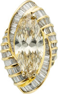 Estate Jewelry:Rings, Fancy Brown-Yellow Diamond, Diamond, Gold Ring-Dant. ...
