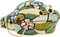 Luxury Accessories:Bags, Judith Leiber Full Bead Green & Rainbow Crystal Frog MinaudiereEvening Bag. ...