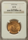 Indian Eagles: , 1910-S $10 AU58 NGC. NGC Census: (646/515). PCGS Population(423/652). Mintage: 811,000. Numismedia Wsl. Price for problem ...