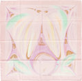 "Luxury Accessories:Accessories, Hermes Pale Pink, Purple & Green ""La Tour Eiffel S'Envole,"" bySefedin Kwumi Silk Scarf. ..."