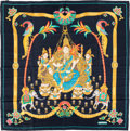 """Luxury Accessories:Accessories, Hermes Navy, Gold & Red """"India,"""" by Caty Latham Silk Scarf. ..."""