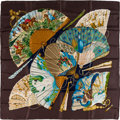 "Luxury Accessories:Accessories, Hermes 90cm Brown, Blue & Green ""Brise de Charme,"" by JuliaAbadie Silk Scarf. Excellent to Pristine Condition. 36""Wi..."