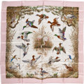 "Luxury Accessories:Accessories, Hermes Pink, Green & Brown ""Halte en Camargue,"" by RobertDallet Silk Scarf. ..."
