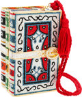 Luxury Accessories:Bags, Judith Leiber Full Bead Red, Blue & Silver Crystal Stack ofBooks Minaudiere Evening Bag. ...