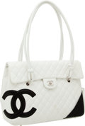 Luxury Accessories:Bags, Chanel White Lambskin Leather Cambon Large Flap Bag. ...