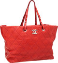 Luxury Accessories:Bags, Chanel Strawberry Red Antiqued Caviar Leather Tote Bag with SilverHardware. ...
