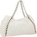 Luxury Accessories:Bags, Chanel White Lambskin Leather Modern Chain Hobo Bag with GunmetalHardware. ...