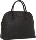 Luxury Accessories:Bags, Hermes 37cm Black Ostrich Sellier Bolide Bag with Gold Hardware ....