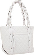 Luxury Accessories:Bags, Chanel White Antiqued Leather Vintage Ligne Tote Bag with SilverHardware. ...