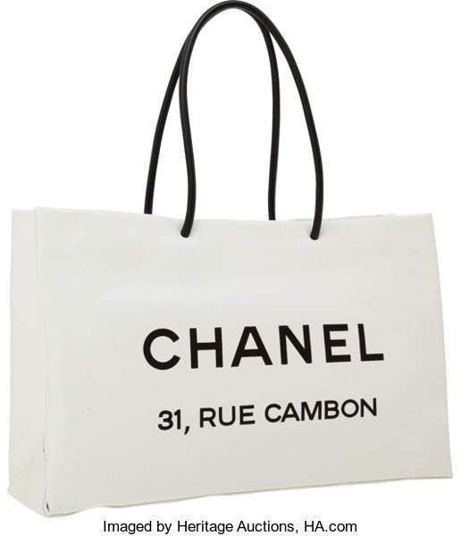 13e6ec9f3290 Luxury Accessories:Bags, Chanel White Lambskin Leather Rue Cambon Shopping  Tote Bag.