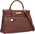 Luxury Accessories:Bags, Hermes 35cm Chocolate Courchevel Leather Retourne Kelly Bag with Gold Hardware. ...