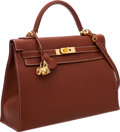 Luxury Accessories:Bags, Hermes 32cm Etrusque Fjord Leather Sellier Kelly Bag with GoldHardware. ...