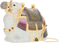 Luxury Accessories:Bags, Judith Leiber Full Bead Gold, Silver & Purple Crystal ArabianKarma Camel Minaudiere Evening Bag. ...